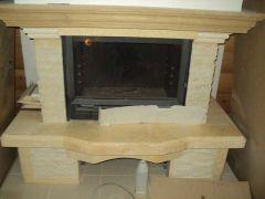 реставрация облицовки для  камина из мрамора